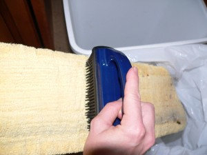 Rubber brush in action!