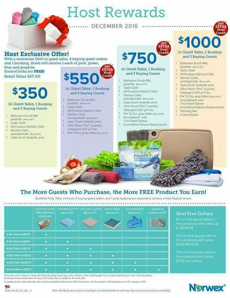 December 2016 Norwex Hosting Gifts